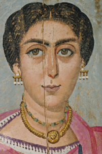 One of a pair of Fayum paintings dating to around 190 AD which John Prag believes back up his theory that the faces in the mummy portraits are merely variations on a set of basic types and shapes.