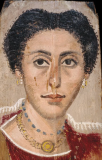 ... It bears considerable similarities to a second painting, also dated to c.190 AD. The earrings are different and the mouth is wider – but do the similarities in hair, eyebrows and facial structure suggest a family relationship – or the products of an ancient production line?