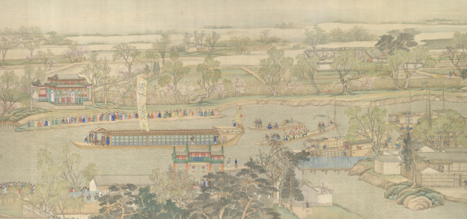 Emperor Hungli arrives at Su-chou on the Grand Canal during his Southern Inspection Tour of 1751.