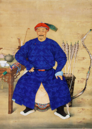 Martial race: a Manchu bannerman – a member of one of the eight great companies of warriors who underpinned the Qing state – painted to illustrate his noble qualities. Though cultured and literate (witness the writing materials at his elbow), he is also a vigorous warrior, happiest on horseback.
