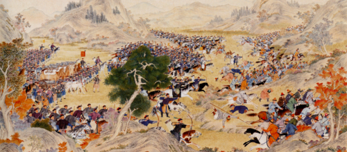 Manchu bannermen charge at the Battle of Qurman, fought in Turkestan in 1759.