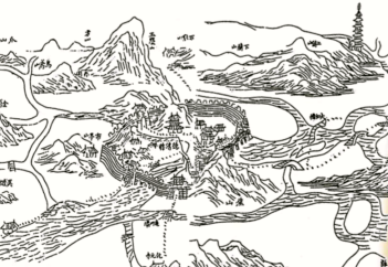 An 18th century drawing of the town of Te'ching. The watergate where all the trouble started can be seen on the right.