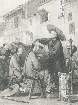 A Chinese barber shaves a customer's forehead and trims his queue. This hairstyle – and its imposition on all male Chinese subjects by the Manchu emperors – lay at the heart of the great soulstealing scare.