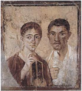 A wall painting from the house of Terrentius Neo, entombed during the eruption of Vesuvius in 79 AD. Its focus on head-and-shoulders portraiture and use of perspective are reminiscent of the Fayum paintings.