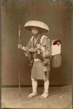 Wandering monks and Buddhist pilgrims were a staple of eastern societies for generations – this old photograph comes from Japan. They carried basic necessities in packs, and though this man seems considerably better equipped than most, even poorer mendicants might carry items such as scissors, needle and thread.