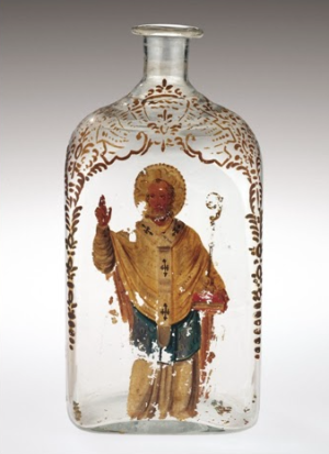 A seventeenth century glass flask designed to contain Manna of St Nicholas – a healing oil supposed to drip miraculously from the saint's tomb in Bari. According to contemporary sources, Aqua Tofana was sold, disguised as Manna, in bottles much like this.