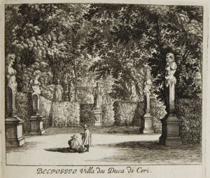 The gardens of the Duke of Ceri in the middle of the 17th century, at the time they would have been known to his wife and possible killer, Maria Aldobrandini..
