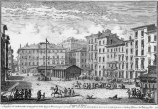 Rome's Campo di Fiori in 1700, half a century after it witnessed the public executions of five women charged with dispensing Aqua Tofana to the wives of Rome.