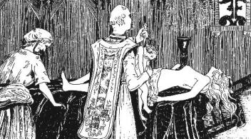 The Abbé Guibourg prepares to sacrifice an infant during an amatory mass. From 'The Guibourg Mass' by Henry de Malvost, Paris, 1903.