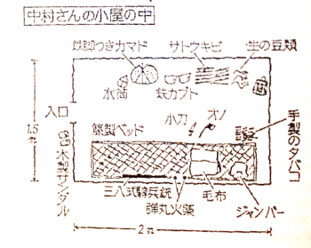 A Japanese newsdpaper sketch of Nakamura's hut, in which he lived for more than 20 years, alone in the mountains of the interior.