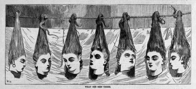 Scene from a late 19th century novelty tableau. The heads of Bluebeard's murdered wives hang behind a curtain, ready to be revealed to a horrified audience.