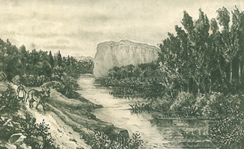 A 19th century engraving of the Blavet at the spot where Conomor's fortress, Castel Finans, once loomed over the river on the edges of the ancient forest of Quénécan. the castle – which in those days would have been built of wooden pallisades – once stood on the cliffs over the river. Today, thanks to the construction of a dam, the water level is vastly higher, obscuring the great defensive qualities of the position.