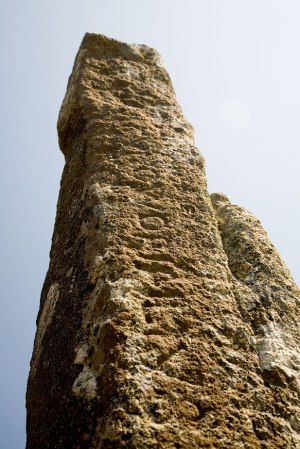 "The ""Tristan Stone"", with its badly worn inscription – a sixth century granite monument outside Fowey in Cornwall."