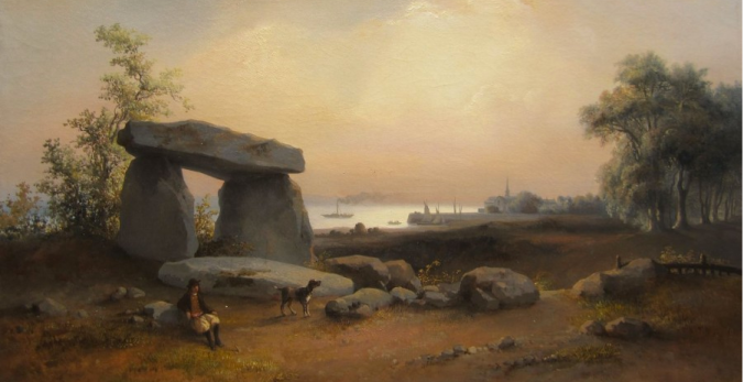 The ancient landscape of Brittany is filled with prehistoric monuments known as dolmen. This one is close to the Atlantic port of St Nazaire.