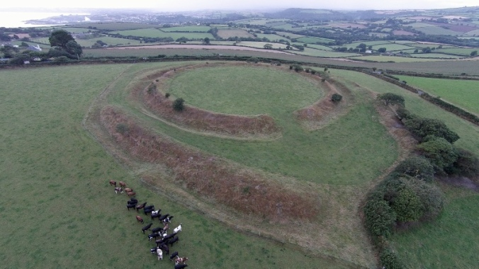 The hill fort at Castle Dore, near Fowey. it dates to the Iron Age but remained in use at least as late as the Roman occupation.