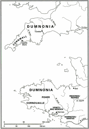 Brittany in the 6th century, from the New Cambridge Medieval History. Conomor's domain ran along the northern coast, corresponding roughly to Dumnonia. Waroch's was in the south-east, corresponding roughly to Veneti. We have no idea of the borders of their territories. Click to view in higher resolution.