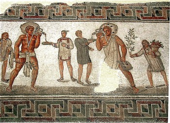 Household slaves in the Roman period, from a 2nd century A.D. mosaic from Tunisia. They wear clothing typical of the period, and lucky charms in the form of amulets.