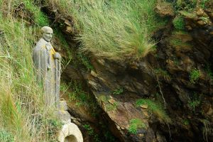 A statue of St Gildas in the spot where he is said to have established his hermitage in the woods outside the Breton village now known as Saint-Gildas-de-Rhuys.