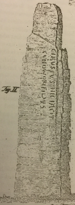 Borlase's engraving of the Long Stone as it was c.1750. Note its width – much greater than that of the surviving monument today.