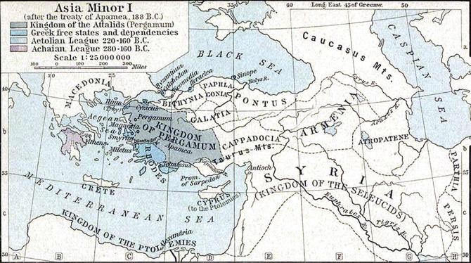 """La croupe de l'empire séleucide autrefois puissant vers 188 avant JC, est montré ici (non marqué, à droite, étiqueté """"Syrie"""") un demi-siècle avant la révolte d'Eunus. Les pirates ciciliens qui opéraient le long de sa côte méditerranéenne avaient leurs bases au pied des monts Taurus."""
