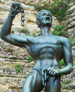 A statue of Eunus outside the walls of a citadel in Enna, the formidable hill-top fortress that was his ancient capital.