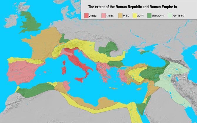 Les territoires de la République romaine au moment de la première guerre servile - montré en rouge foncé et clair. La carte montre certaines zones de la Sicile en orange; Celles-ci étaient d'anciennes cités grecques liées à Rome par des obligations conventionnelles et, à ce stade, au mieux, indépendantes sur le plan nominal. Source: Wikicommons.