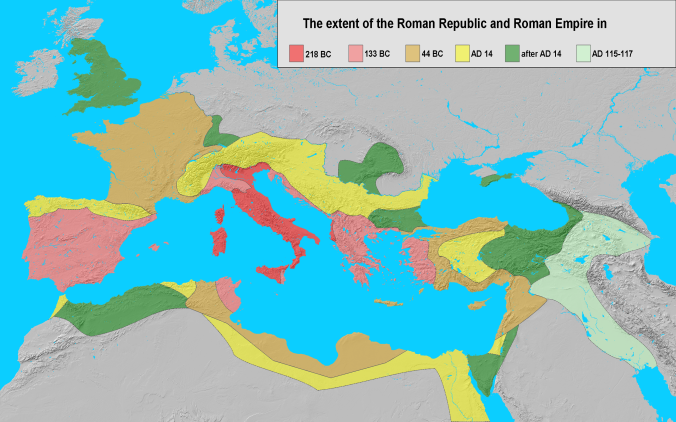The territories of the Roman Republic at the time of the First Servile War – shown in dark and light red. The map shows some areas of Sicily in orange; these were former Greek cities bound to Rome by treaty obligations and at this stage at best only nominally independent. Source: Wikicommons.