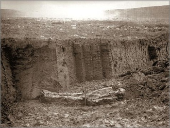 The oldest known photograph of a bog body in situ – this one excavated at Fattiggårdens Mose, in Denmark, in 1898.
