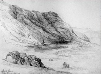 Dramatic Llyn Fawr – seen here in 1830 – sits beneath a 2,000 foot escarpment at the head of a South Wales valley. Draining the lake revealed a treasure trove of votive offerings deposited there during the Bronze Age.