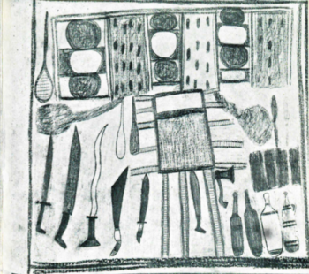 An Aboriginal drawing of a Makassan trepang processing site on the Australian mainland. Note the iron weaponry and bottles.