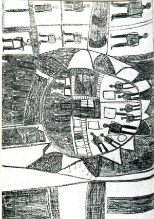An Aboriginal drawing showing the port of Makassar, in the south-west of Sulawesi, and its immediate vicinity.