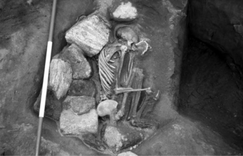 One of the skeletons excavated at Cladh Hallan in the Hebrides. The body had been preserved in peat and kept above ground for years before being buried. The details are baffling; the head is male and has been placed on a female body. The woman's hands each contain an incisor removed from the man's skull.