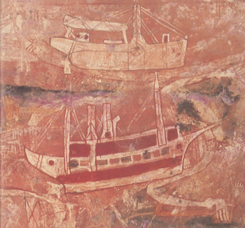 An Aboriginal rock drawing of a prau. Dating of such images suggests that men from the East Indies may have begun visiting Australia as early as the 16th century.