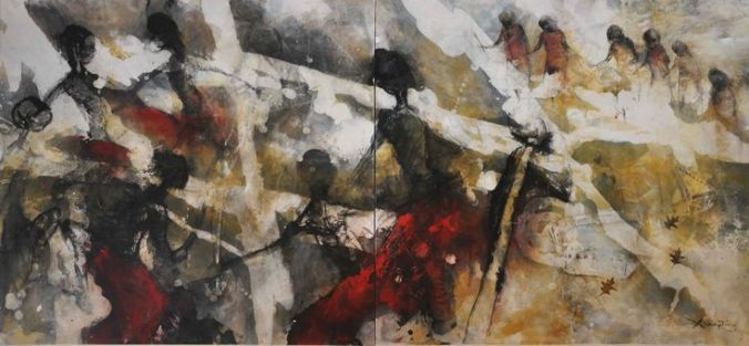 """Red Dancing,"" another painting from a series by Zhou Xiaoping depicting Aboriginal-Makassan contact."