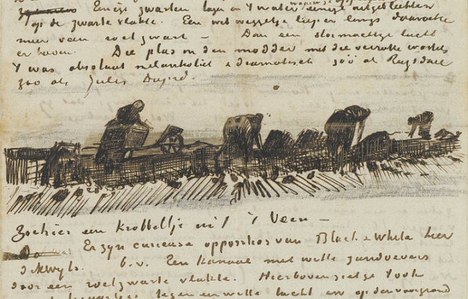 This sketch by Vincent Van Gogh, dating to October 1883, shows Dutch women working at peat-cutting in the traditional labour-intensive way. Bodies unearthed by hand were much more likely to survive intact than those exhumed by the modern, heavily-mechanised peat extraction industry.
