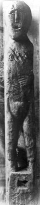 The Ballachulish figure photographed just after its discovery, and before it was allowed to dry out. Note her hands, which appear to grasp a pair of severed penises.