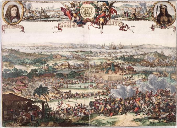 Engraving of the conquest of Makassar by a Dutch fleet in 1669.