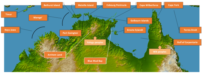 Australia's Top End, showing the main places and peoples mentioned in the text. Click to view in higher resolution.