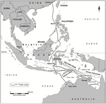"The main routes of the trepang trade. From Blair & Hall, 'Travelling the ""Malay Road,""' in Clark and May, Macassan History and Heritage. Click to view in higher definition."
