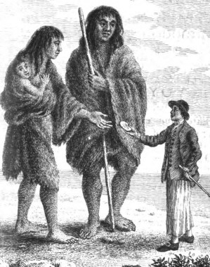 A sailor giving a Patagonian woman some biscuit for her child - frontispiece of the Byrion's voyages(1768).jpg