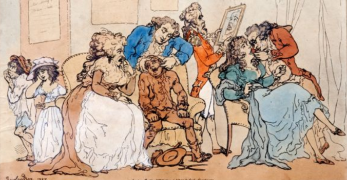 Rowlandson's 1787 cartoon shows a chimney sweep having a tooth extracted for transplantation into a wealthy woman.