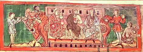 Anglo-Saxon noblemen at leisure. Anglo-Saxon calendar, 11th century. BL