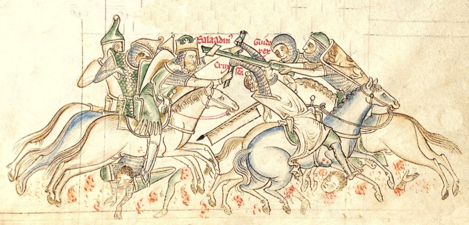 The Battle of Hattin, from a 13th-century manuscript of the Chronica Majora