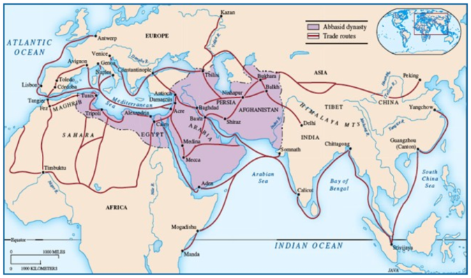 The main trade routes of teh Abbasid Caliphate in c.800